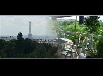 Appartager FR - Chb HOTE 40 euros/nuit (2 nuitsmin  -7 nuits maxi )CENTRALE VUE Tr Eiffel/CALME SOLEIL parc, 19ème Arrondissement - 800 € /Mois