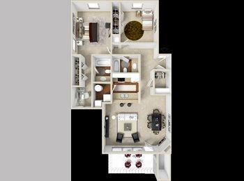 EasyRoommate US - Woodland Creek 2bed/2bath 1150 sqft Top floor! Roommate wanted!, Kentwood - $590 pm