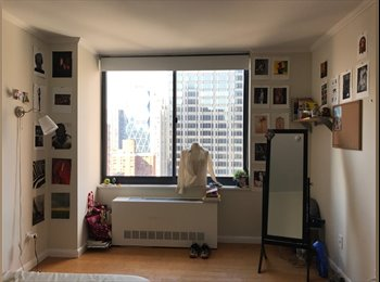 EasyRoommate US - 9 mo Furnished Sublet in Luxury Doorman Building -- Midtown West, Theater District - $2,100 pm